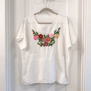 Vintage Handmade Embroidered Floral White Blouse